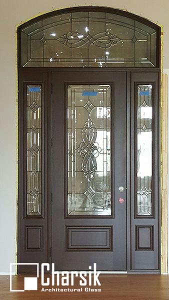 شیشه دکوراتیو درب ورودی، کد D26