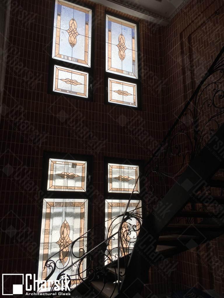 شیشه فلز دار استین گلاس درب لابی
