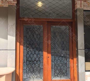 درب لابی چوبی و شیشه تزئینی چارسیک
