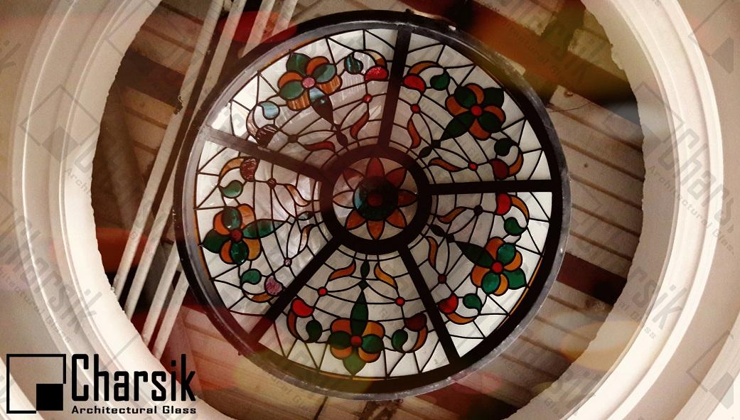 سقف شیشه ای نورگیر تزئینی گنبد شیشه ای