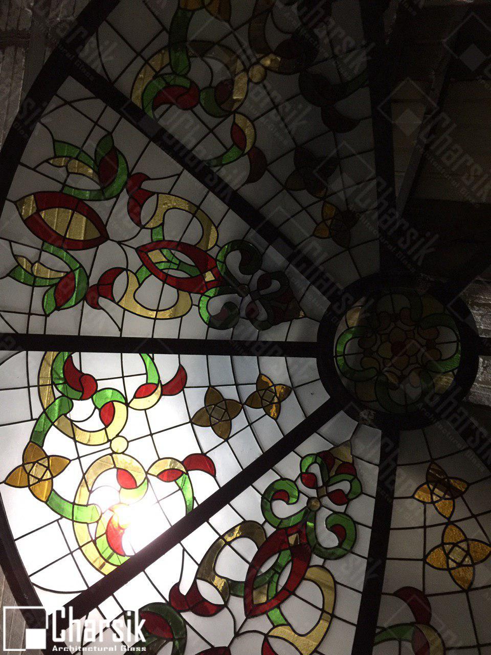 نورگیر سقفی تزئینی چارسیک گنبد شیشه ای استین گلس
