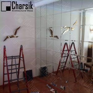 آینه تراشدار دیواری طرح مربع در زعفرانیه