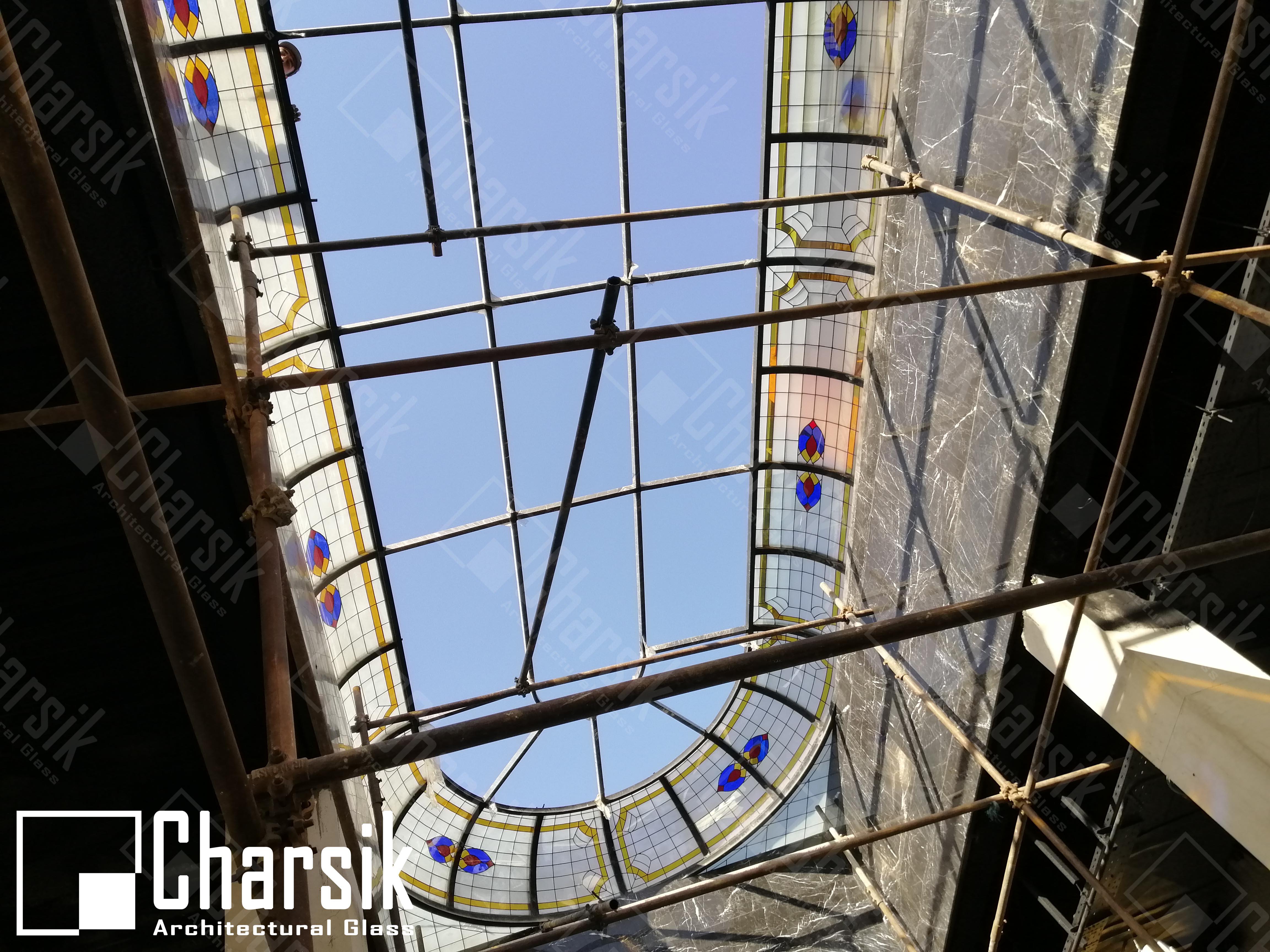 سقف شیشه ای نورگیر استیند گلس فرشته