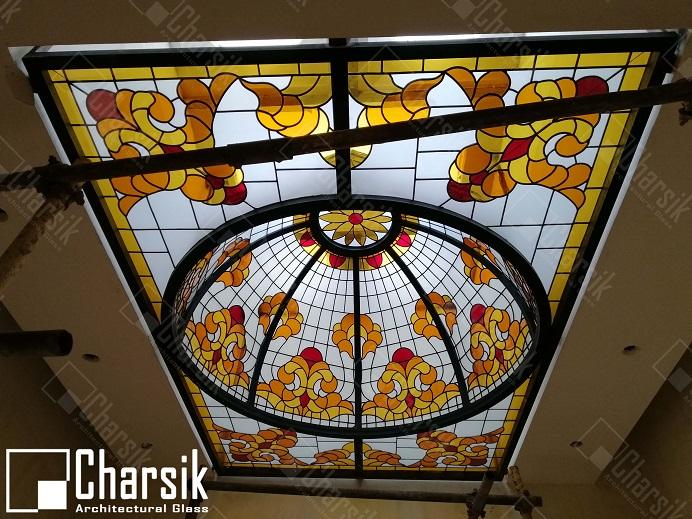 نورگیر سقفی گنبدی تزئینی با شیشه خم