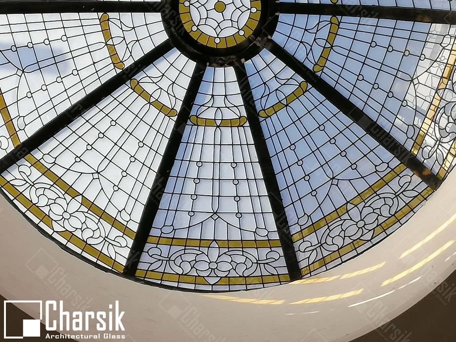سقف گرد شیشه ای تزئینی و خاص و لوکس